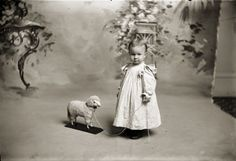 ::::::::: Vintage Photograph :::::::::   Little girl with pull toy lamb