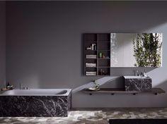 Kuidas tundub tume marmor vannitoas. Mitte liiga palju- kombineerituna kunstkiviga ja keraamilise plaadiga.  Washbasin countertop R1 Collection by Rexa Design design Monica Graffeo