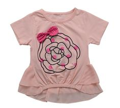 TOK TIC  kids girls clothes children grils short sleeve cotton bowknot flower t-shirt kids tees and tops  fits 1-4 years