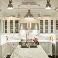The Renovated Home - kitchens - white cabinets, white kitchen cabinets, white marble, white marble countertops, marble backsplash, white mar...