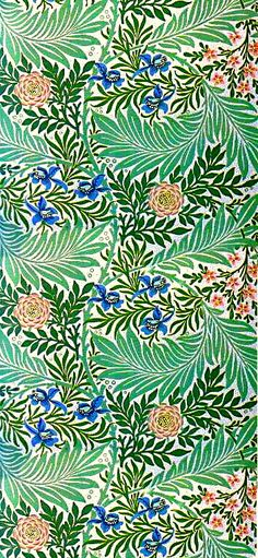 Turn a corner of your room into a tropical garden with this William Morris paper in blues, greens, and orange.  We hang wallpaper in Bellingham WA - http://www.northpinepainting.com