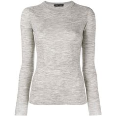 Proenza Schouler Open-Back Wool Jumper ($120) ❤ liked on Polyvore featuring tops, sweaters, grey, gray wool sweater, open back sweater, grey jumper, ribbed top and ribbed sweater