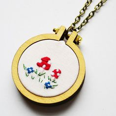 Toadstool Miniature Hand Embroidery Hoop Necklace or Brooch. Miniature 4cm