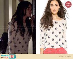 Aria's skull print sweater on Pretty Little Liars. Outfit Details: http://wornontv.net/27538 #PLL #fashion