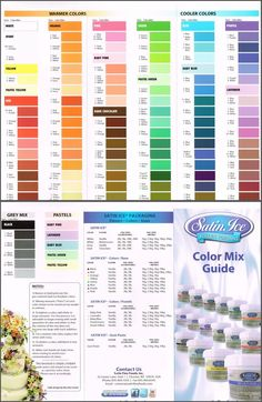 color chart for coloring marshmallow fondant - Yahoo Image Search Results Color Mixing Guide, Color Mixing Chart, Cake Icing, Fondant Cakes, Cupcake Cakes, Cake Decorating Tips, Cookie Decorating, Icing Color Chart, Food Coloring Chart
