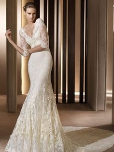 \ Lace Mermaide Deep V Neck Semi Cathedral Wedding Dress WDWS020 \