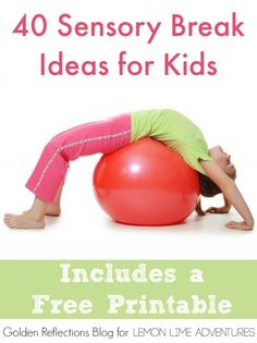 40 Sensory Breaks for Kids . all great ideas! These are great sensory activities for autism, special needs and sensory processing disorder. These easy brain break activities will help your children to focus better. Sensory Motor, Autism Sensory, Sensory Diet, Sensory Play, Sensory Tools, Sensory Issues, Sensory Integration, Sensory Processing Disorder, Occupational Therapy