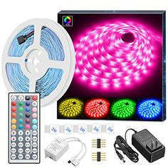 【Color Changing】This RGB Led strip lights kit can change colors and speed automatically and periodically. It has not only RGB(Red, Green, Blue), 16 multicolored options, but also has DIY selection to create your great led mood lighting. Strip Led, Rgb Led Strip Lights, Led Light Strips, Led Rope Lights, String Lights, Led Room Lighting, Strip Lighting, Led Bedroom Lights, Led Band