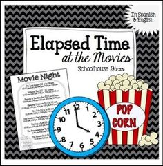 """FREE MATH LESSON - """"Elapsed Time FREE Activity: At the Movies! English & Spanish (3rd - 6th)"""" - Go to The Best of Teacher Entrepreneurs for this and hundreds of free lessons. 3rd - 6th Grade  #FreeLesson  #Math  http://www.thebestofteacherentrepreneurs.org/2016/03/free-math-lesson-elapsed-time-free.html"""