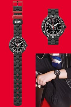This is another of our most popular and stylish watches for kids, featuring everyone's favourite bad guy Darth Vader on the dial. The Force is strong with its black, red and white design, and kids will learn to tell the time easily with this iconic watch, making it a great kids' gift idea. STAR WARS DARTH VADER (ZFFLP005) is also shock and water-resistant, so it can survive any intergalactic battle! The Force Is Strong, Stylish Watches, Telling Time, Red And White, Black, Swatch, Battle, Darth Vader, Star Wars