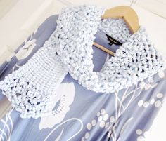 Knitted scarf Lacy knitted scarf Pastel blue knit by OnePurlRow