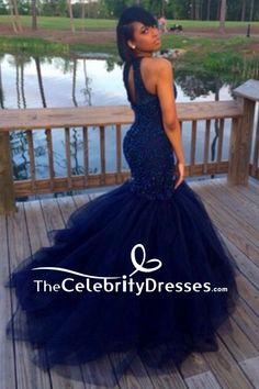 863f0518c7b6 Dark Navy Mermaid Beaded Luxury Prom Gown Tulle Wedding Dress For Sale  TCDFD7828
