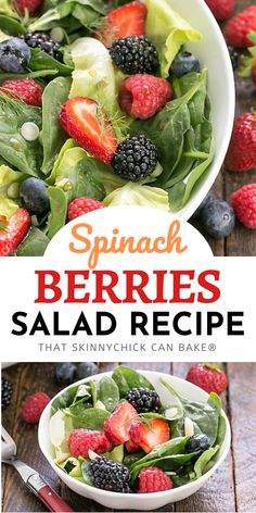 Spinach, Almond and Berries Salad - a vibrant, tasty summer berry salad tossed in a light, sweet vinaigrette.  Featuring four luscious berries, it's an unforgettable Spinach Salad Recipe! Best Side Dishes, Side Dish Recipes, Easy Dinner Recipes, Delicious Recipes, Homemade Desserts, Fun Desserts, Dessert Recipes, Summer Desserts, Perfect Salad Recipe