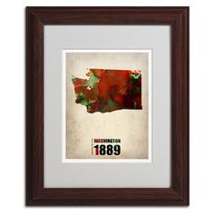 Trademark Global Watercolor State & Date Wood Framed Canvas Wall Art, Multicolor