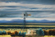 The Windmill. #windmill #karoo #oilpainting #southafrica #artist #mountains #clouds #cloudy #openspace