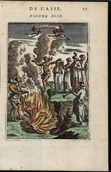 Sati Jumping into Fire India Immolation Idolatres 1683 antique hand color print