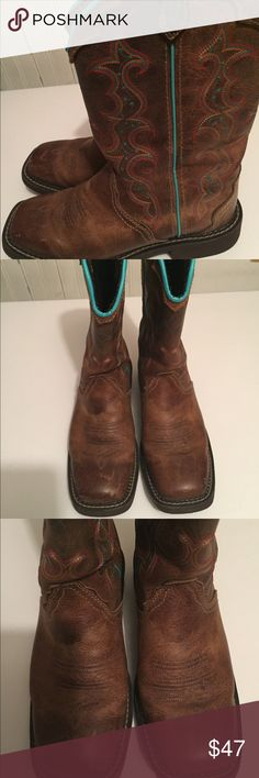 Justin gypsy boots Great pair of leather Justin boots. Brown with orange yellow and turquoise, trimmed in turquoise. In EUC! One inch heel Justin Boots Shoes Heeled Boots