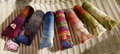 bolsas para lápis em crochet