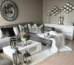 Grey and white, gray living room decor ideas, black living room furniture, Living Room Grey, Home Living Room, Living Room Designs, Living Room Furniture, Silver Living Room, Living Room Ideas With Grey Couch, Cozy Grey Living Room, Living Room Decor Ikea, House Furniture