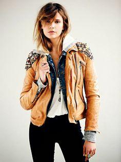 Free People Embellished Brown Leather Jacket