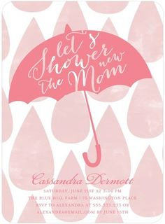 Let's shower the new mom! Umbrella of Love - Baby Shower Invitation in ballet pink.
