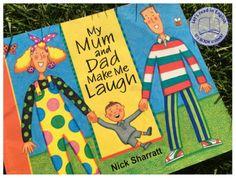 My Mum and Dad Make Me Laugh to idealna propozycja do czytania z dziećmi z okazji Dnia Mamy, Dnia Taty bądź Dnia Dziecka. Bohaterowie  książeczki to nietuzinkowa rodzina o niezwykłych upodobaniach. Mama ma bzika na punkcie kropek, Tata z kolei lubuje się we wszystkim co pasiaste.