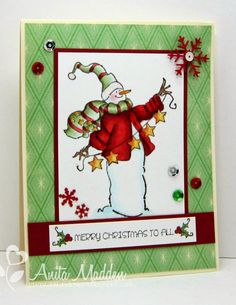 Art Impressions: Ai Christmas:  Christmas to All Set (Sku#4517) Handmade snowman card.