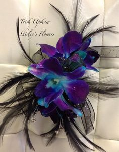 orchid and black feather corsage - Google Search