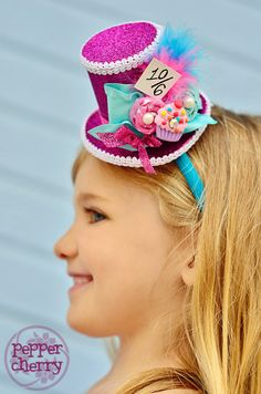 """Mini Top Hat - Cupcake """"Mad for Sweets"""" Mad Hatter. $25.00, via Etsy."""