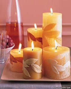 Martha Stewart leaf covered candles