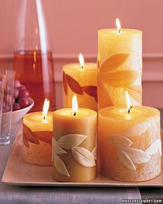 Leaf-Covered Candles  Lemon, mountain laurel, and rhododendron leave delightful impressions on homemade wax candles.  How to Make Leaf-Covered Candles