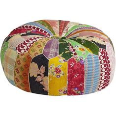 Pier 1 Imports Multi-colored Old Bengali Patch Pouf Ottoman (€135) ❤ liked on Polyvore featuring home, furniture, ottomans, interior design, rooms, multicolor, indian furniture, colorful furniture, patchwork ottoman and multi color ottoman