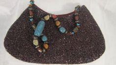 ANTIQUE VINTAGE Royal Purple Beaded/Stone Strap 100% Viscose Purse Bag Handbag