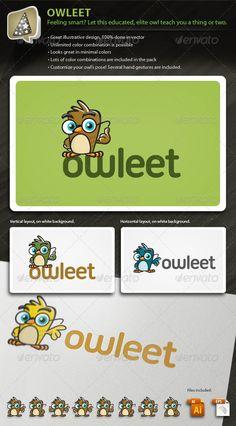 Owleet Illustrative Owl Mascot For Your Biz Logo Design Template Vector #logotype Download it here: http://graphicriver.net/item/owleet-illustrative-owl-mascot-logo-for-your-biz/714987?s_rank=224?ref=nesto