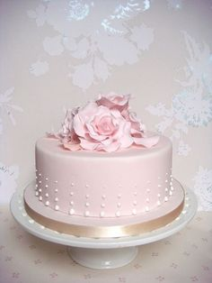 Pastel pink rose petal cake – Famous Last Words Wedding Cake Pearls, Wedding Cakes, Pretty Cakes, Beautiful Cakes, Fondant Cakes, Cupcake Cakes, Rose Petal Cake, Rose Petals, Pearl Cake