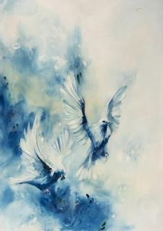 Phthalo by Katy Jade Dobson from the '21 Grams' Collection #art #artist #painting #prints #gallery #York #Yorkshire #Pocklington #interiors #collectable #statementart #beautifulthings #homes #decoratingideas #littleacorns #blues #birds #doves