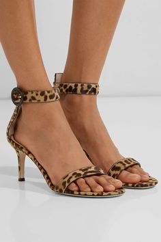 Heel measures approximately 70mm/ 3.5 inches Leopard-print calf hair Buckle-fastening ankle strap Made in Italy