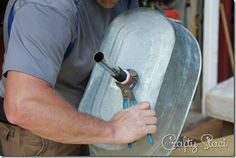 Galvanized Tub Sink and Watering Can Faucet - Crafty Staci 10
