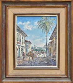 """VAN DIJK, WIN (1915-1990). """"Rua de Mariana - MG"""" , óleo s/ tela, 41 x 33. Assinado no c.i.d."""