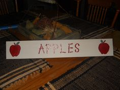 I made this apple sign for a customer! Painted and hand painted the apples, it measures 4x24