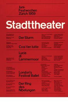 Poster by the swiss graphic designer Josef Muller Brockmann. Juni festwochen Zurich  1959 Stadttheater. Swiss style #brockmann #graphicdesign