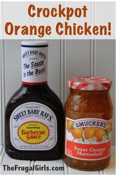 Crockpot Orange Chicken Recipe! - you only need bbq sauce, orange marmalade, soy sauce and chicken.  So easy.