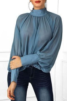 Loose Turtleneck Batwing Sleeve Plain Women's Blouse – Women Tops - African fashion Winter Fashion Outfits, Modest Fashion, Look Fashion, Fashion Dresses, Fashion Blouses, Woman Dresses, Woman Outfits, Dresses Dresses, Spring Dresses