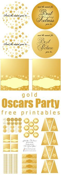 Gold Oscars Party | Free Printables www.weheartparties.com