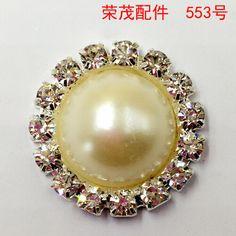 Acessórios de cabelo DIY garra cadeia de jóias pingente de pérola disco redondo botão de strass fivela de prata do metal botão