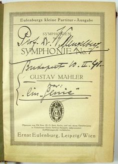 Dutch conductor (1871-1951), famous for his performances of music by Gustav Mahler and Richard Strauss with the Concertgebouw Orchestra, Amsterdam. Signed book