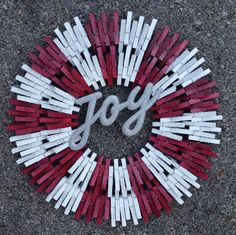 Candy cane christmas clothespin wreath by ThreeDogWreaths on Etsy