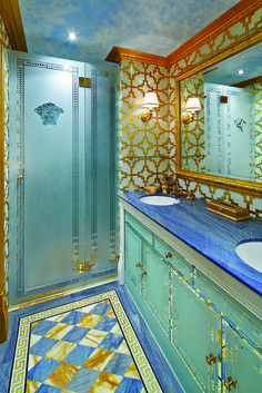 Versace Bathroom, this bathroom was completely fit out in Versace! Gianni Versace House, Versace Home, Versace Versace, Bathroom Mirror Makeover, Bathroom Styling, Modern Bathroom Design, Bathroom Interior Design, Interior Ideas, Bathroom Wall Cabinets