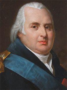 Luigi XVIII di Borbone (*Versailles, 17 novembre 1755 – +Parigi, 16 settembre 1824), re di Francia dal 1814 al 1824. Nipote di Luigi XV, figlio del delfino di Francia Luigi e di Maria Giuseppina di Sassonia, era il fratello minore del re ghigliottinato durante la Rivoluzione francese, Luigi XVI. Proprio a causa della rivoluzione, trascorse ventitré anni tra il 1791 ed il 1814 in esilio, e nuovamente nel 1815 durante i Cento giorni col ritorno di Napoleone dall'Elba.