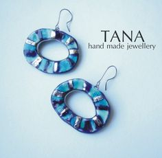 Ceramic earrings multicolore and platine. Boucles by Tanaart, $43.00